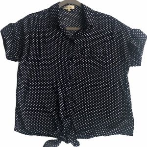 Love Notes Navy and White Polka Dot Blouse Size S